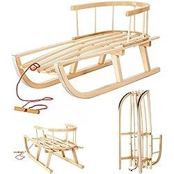 Trineo de madera de haya con respaldo y cuerda para niños