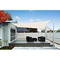 Axt Shade Toldo Vela De Sombra Rectangular 3 X 4 M Protección Rayos Uv Impermeable Para Patio Exteriores Jardín Color Crema
