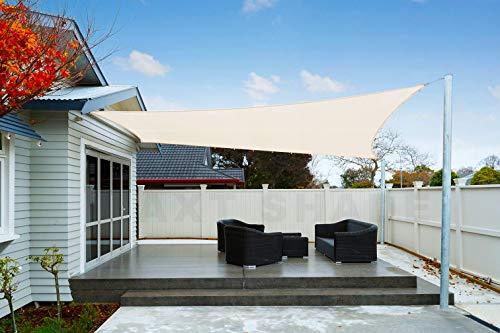 AXT SHADE Toldo Vela de Sombra Rectangular 4 x 4 m, protección Rayos UV Impermeable para Patio, Exteriores, Jardín, Color Crema