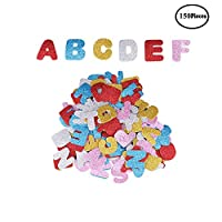 DesignerBox 150 Pieces Glitter Foam Stickers Self Adhesive, Stars, Alphabet Letters and Heart Shapes Glitter Stickers for Kid