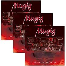 Mugig Juego de Cuerdas para Guitarra Eléctrica 6 Cuerdas de Acero (6 × 3 paquetes)