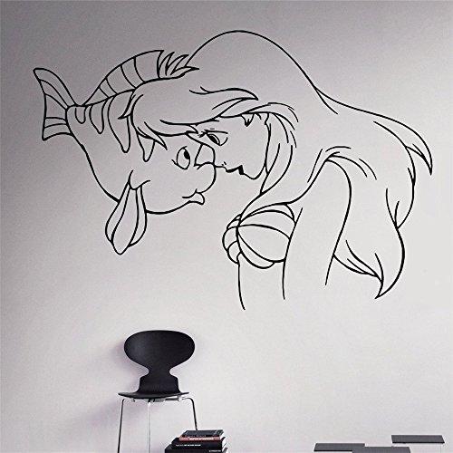 ljradj Kunst Prinzessin Kleine Meerjungfrau Ariel Vinyl Applique Home Decoration Kindergarten Abnehmbare Wandaufkleber 83 x 58 cm