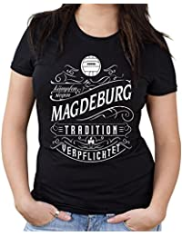 Mein leben Magdeburg Girlie Shirt | Freizeit | Hobby | Sport | Sprüche | Fussball | Stadt | Frauen | Damen | Fan | M1 Front