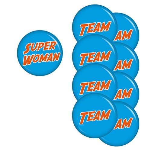 perwoman-Team-Set 56mm Buttons Ansteckbutton Junggesellenabschied und Hochzeit (Superwoman-party Dekorationen)