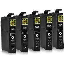 5 Cartuchos de tinta compatible con Epson 16-XL / T1621 / T1631 (Negro) para Epson WorkForce WF-2010 WF-2500 WF-2510 WF-2520 WF-2530 WF-2540 WF-2630 WF-2650 WF-2660 WF-2700 WF-2750 WF-2760