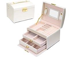 Scatola di Gioielli Set Scatola Porta Gioielli Beauty Case di immagazzinaggio di immagazzinaggio di cosmetico a Tre Strati co
