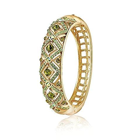 City Ouna®18K or plaqué bracelet Fashion bijoux émeraude Womens beau Bracelet vert cadeau de Noël