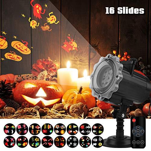 Qomolo LED Projektionslampe Projektor Lampe Nachtlicht Kinder Gartenbeleuchtung Wasserdicht mit 16 Motiven Fernbedienung für Halloween Weihnachten Ostern Feiertag Geburtstag Party (Upgrade für 2019)