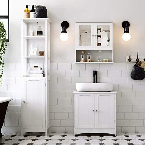 SONGMICS Waschbeckenunterschrank Unterschrank Badezimmerschrank 2 Türen mit Verstellbarer