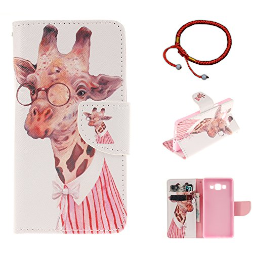 GOCDLJ Samsung Galaxy A3 2015 A300 Hülle PU Leder Flip Cover Tasche Ledertasche Handytasche Schutzhülle Handyhülle Case Etui Wallet Messer Form Magnetverschluss Shell Design Giraffe mit Brille