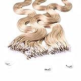 hair2heart 50 x Microring Loop Extensions aus Echthaar, 50cm, 0,5g Strähnen, gewellt - Farbe 18 haselnuss