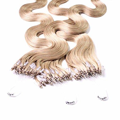 Hair2heart 25 x 0.5g microring loop extension capelli veri - 50cm - ondulato, colore #18 biondo chiaro dorato