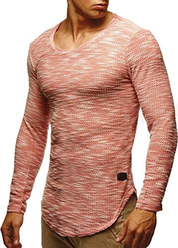 Sport Herren Pullover Strickjacken (LEIF NELSON Herren Pullover Longsleeve Hoodie Basic Sweatshirt Hoodie Hoody Sweater LN6358; Grš§e M, Lachsrosa)