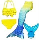 Mädchen Cosplay Kostüm Badebekleidung Meerjungfrau Badeanzug 4.Teile Bikini Sets Tolle Geschenksidee! Lieferung bis 3.