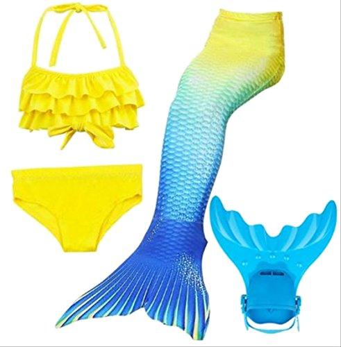 Mädchen Cosplay Kostüm Badebekleidung Meerjungfrau Badeanzug 4.Teile Bikini Sets Tolle Geschenksidee! Lieferung bis 3. WERKATGE mit DPD! (146/152)