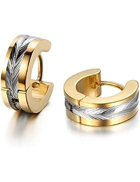 JewelryWe Schmuck Herren Ohrringe, Edelstahl, Glänzend Poliert Creolen Ohrstecker, Gold Silber