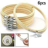 KING DO WAY 15cm, 6 Stück DIY Stickrahmen Set,Holz Kreuz Stitch Hoop Ring, Ring-Rahmen aus Bambus, Metall-Schraubbefestigung für Kunsthandwerk Handnähen
