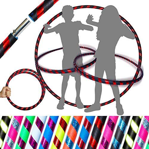 Pro KIDS HULA HOOP Reifen für Kleine Erwachsene und Kinder (10 Farben Ultra-Grip/Glitter Deco) Faltbarer TRAVEL Hula Hoop ideal für Hoop Dance, Fitness Training, Zirkus! (Schwarz / Rot Glitter)   - Glitter Hula-hoop