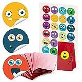 24 rote Papiertüten Gebäcktüten mit Pergamin-Einlage (7 x 4 x 20,5 cm) und 24 runde Aufkleber Sticker bunte LUSTIGE GESICHTER emotions emojis smilies in blau rot grün gelb Tüten für...
