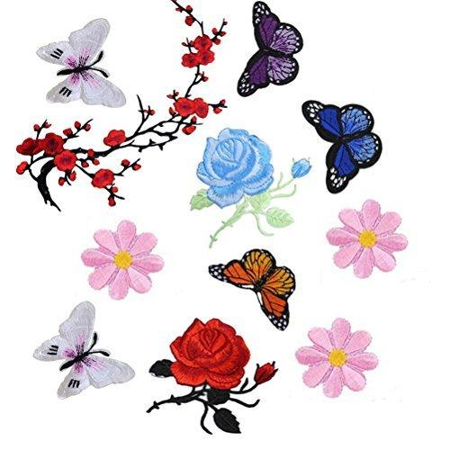 buytra 11-teilig Blumen Eisen auf Sew On Patches Stickerei-Applikation Patches für Jeans, Jacken, Kleidung, Taschen -