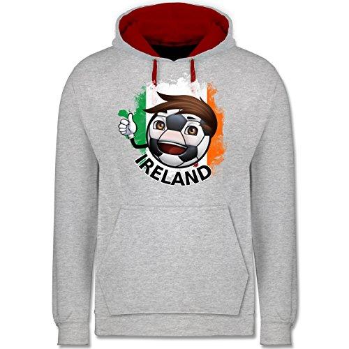 Fußball - Fußballjunge Irland - Kontrast Hoodie Grau Meliert/Rot
