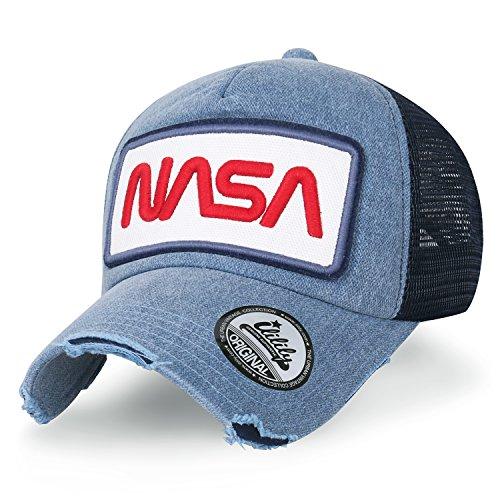 ililily NASA Worm abgebildet im Logo Stickerei Baseball Cap Netz Snap Kappe Trucker Cap Hut, Light Blue Light Blue Trucker Hut