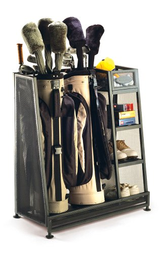 Suncast GO3216 ® Premium Golf Bag Stand Organiser Rack Suitable For Two Golf Bags & Accessories