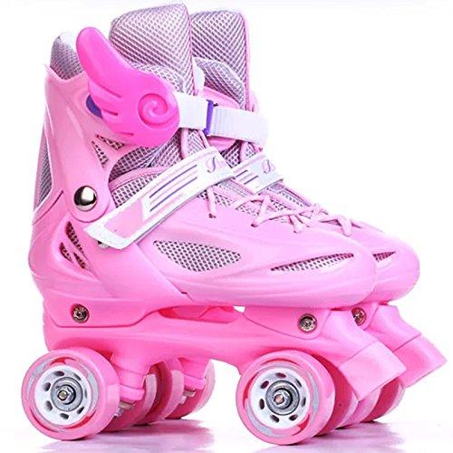 MISS LI Zweireihige Skates Voller Satz Einstellbare Größe Kinder Rollschuhe Vier Rollschuhe Für Männer Und Frauen,Pink-XS