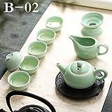 CUPWENH Traditionellen Chinesischen Celadon Porzellan Gong Fu Teeservice Keramik Teekanne Teetasse Set Blau Weiß Karpfen Porzellan Terrine Kung Fu Kaffee Set, B02