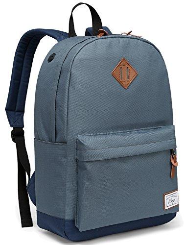 Rucksack Schule, Kasgo Wasserabweisend Klassischer Unisex Schulrucksack mit Gepolstertem 14 Zoll Laptopfach Schultasche für Teenagers Blau MEHRWEG