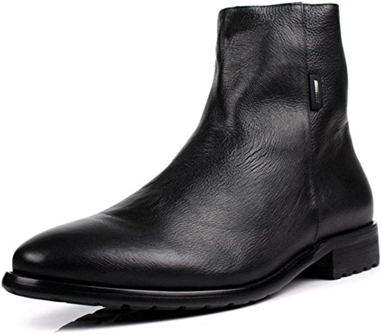 Hombres Real Cuero Botas Alto Zapatos Negro marrón Martín Vaquero Otoño Invierno británico Estilo Ocio Negocio...