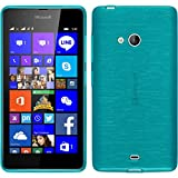 PhoneNatic Coque en Silicone pour Microsoft Lumia 540 Dual - brushed bleu - Cover Cubierta + films de protection