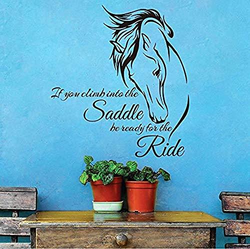 Reiten Wandtattoo, Zitat Vinyl Kunst, wenn Sie in den Sattel klettern Seien Sie bereit für die Fahrt Pferd Wandaufkleber, Dekoration 59x64cm - Pferd Wandtattoos Zitate