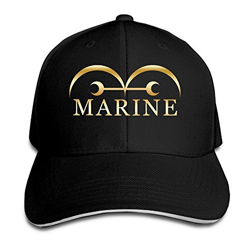 Hittings KMRR One Piece Marine Flag Anime Gold Logo Flex Baseball Cap Black Black