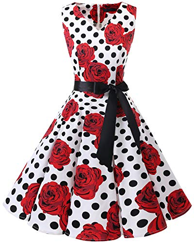 bridesmay 1950er V-Ausschnitt Kleid Vintage Cocktailkleid Rockabilly Retro Schwingen Kleid FaltenrockWhite Black Dot Rose S - Rose Kleid