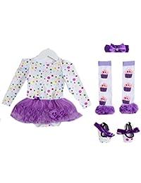 8401c89e6eb Little Secrets Baby Girl s Purple Spotty Tutu Romper Dress Set (Cupcake Leg  Warmers