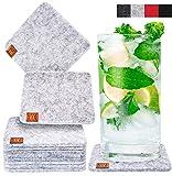 Miqio Design Glasuntersetzer - Filz und Leder - Waschbar - 10er Set Getränke Untersetzer mit Echtleder Applikation