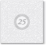 20 Servietten Symbol 25 weiß / silber / Silberhochzeit / Geburtstag 33x33cm