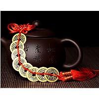 Fengh ocho emperador bronce Lucky Feng Shui monedas dinero colgante–de color rojo)