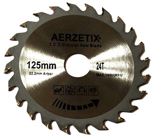 Preisvergleich Produktbild Aerzetix - Scheibe Kreissägeblätter Sägeblatt für Holz 125x22,2 T24 24 Zähne