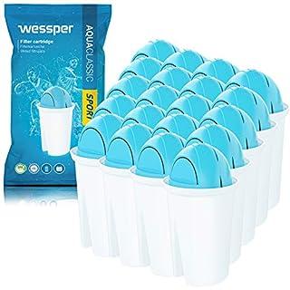 Wessper® AquaClassic SPORT Water Filter Cartridges - compatible with BRITA Classic, Aqua Optima Universal, Dafi Classic, AquaCrest AQK-06, PearlCo – 20 Pack