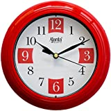 Ajanta Plastic Round Sweep Clock (17.2 cm x 17.2 cm x 3.2 cm, Red)