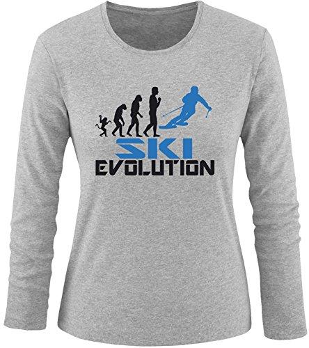 EZYshirt® Ski Evolution Damen Longsleeve Grau/Schwarz/Blau