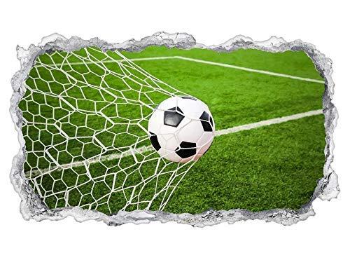 3D Wandtattoo Tor Fussball Ball Feld Sport Fußball Tapete Wand Aufkleber Wanddurchbruch sticker selbstklebend Wandbild Wandsticker Wohnzimmer 11P1316, Wandbild Größe F:ca. 162cmx97cm (Wand, Fußball-tor)