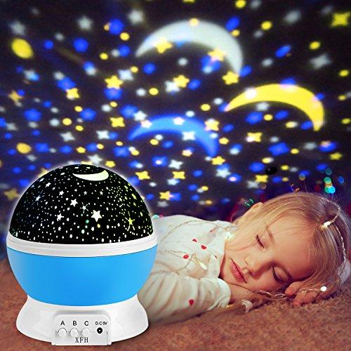 Foto de Proyector de Estrellas, innislink luz del proyector 360 Grados romántica Cosmos Luna de luz nocturna dormitorio para niños, bebés, regalos de la Navidad, los amantes lámpara de proyección, Azul