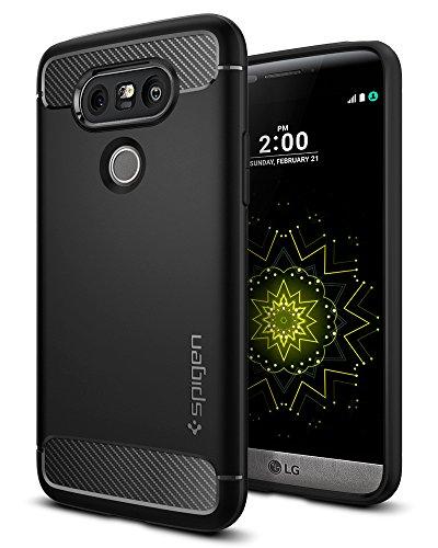 Spigen LG G5 Hülle, [Rugged Armor] Karbon Look [Schwarz] Elastisch Stylisch Soft Flex TPU Silikon Handyhülle Schutz vor Stürzen und Stößen Schutzhülle für LG G5 Case, LG G5 Cover Black (A18CS20128)