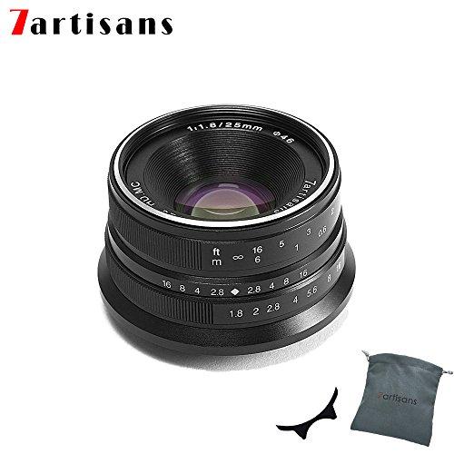 7Artisans 25 mm F1.8 mise au point manuelle Prime fixe objectif pour Olympus et Panasonic Micro 4/3 mFT M4/3 Caméras - Noir