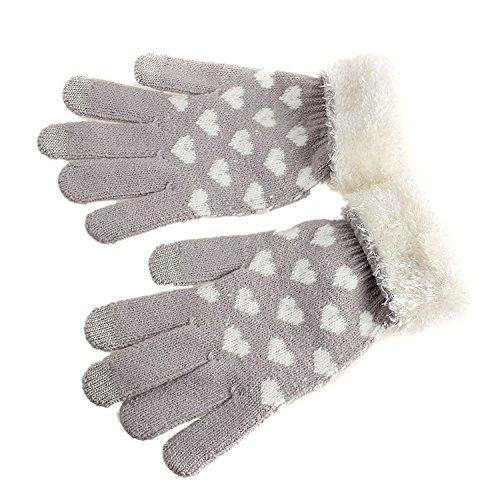 Fletion, guanti invernali da donna con dita intere, caldi, realizzati a maglia, con touchscreen intelligente per iphone, ipad, samsung, smart phone grey taglia unica