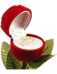 Lady Touch Gold Platinum Plated Cz Austrian Crystal Love Ring With Velvet Red Rose Ring Box For Women And Girls...