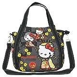 BLY Hello Kitty 4539 Schultertasche 19x33x7cm Japanisches Design (Miyabi Flowers Black)